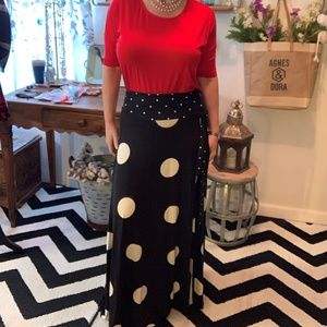 Wrap Maxi Skirt Polka Dot